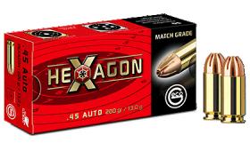 Boite de 50 cartouches Geco 45 AUTO HEXAGON - 200gr
